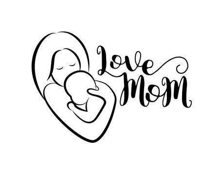 Love mom  lettering design with mom hugs her child icon. Happy Mothers Day concept. Vector illustration isolated on a white background.