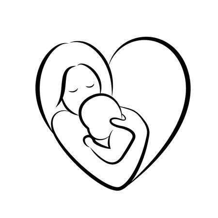 mother and baby stylized vector symbol in heart shape. Mom hugs her child icon design. Happy mothers day concept, illustration isolated on white background.