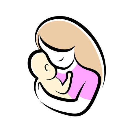 mother and baby stylized vector symbol. Mom hugs her child icon design. Happy mothers day concept, illustration isolated on white background.