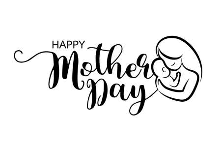 Happy Mothers Day lettering design with mom hugs her child icon. Vector illustration isolated on a white background.