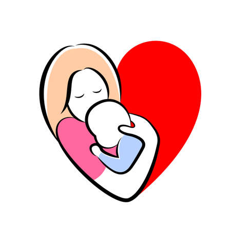 mother and baby stylized vector symbol in heart shape. Mom hugs her child icon design. Happy mother's day concept, illustration isolated on white background.