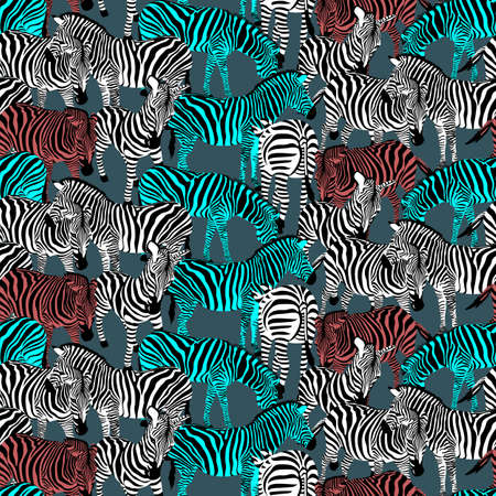 Colorful zebra seamless pattern. Wild animal texture. Striped black and colors. design trendy fabric texture, vector illustration.