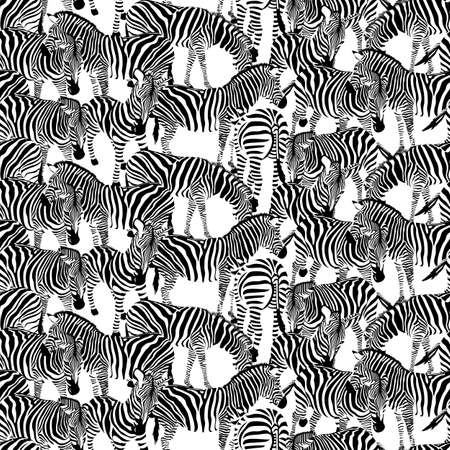 Zebra seamless pattern. Wild animal texture. Striped black and white. design trendy fabric texture, illustration. Illustration