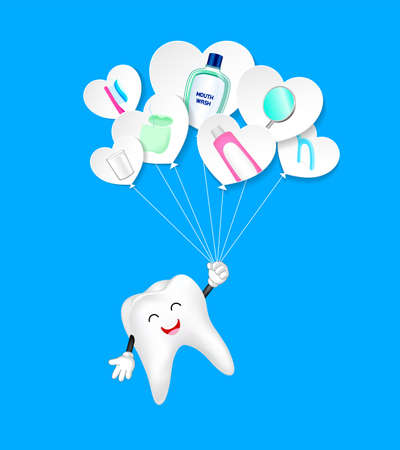 Cute cartoon tooth holding paper heart shape balloon. Happily with dental tool. Dental care concept. Illustration isolated on blue background.