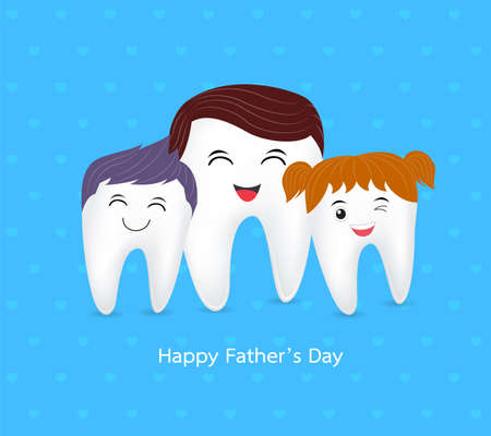 Cute cartoon tooth family. Happy Father Day, dental care concept. illustration on blue background Illustration