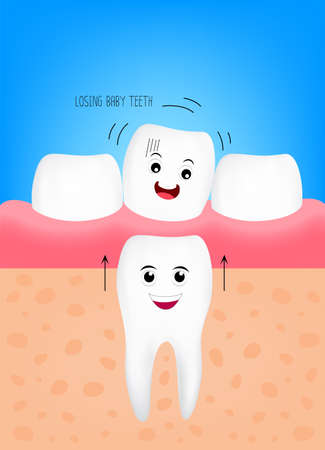 Losing baby teeth, cute cartoon character. New tooth will growing up. Dental care concept. illustration. 矢量图像