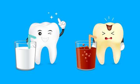 Diente de dibujos animados sano con un vaso de leche y diente cariado con un refresco. Concepto de cuidado dental. Bebidas buenas y malas para los dientes. Ilustración aislada sobre fondo azul Ilustración de vector