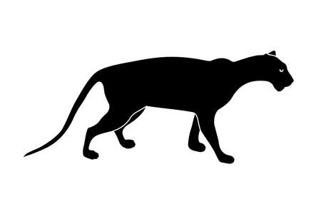 black panther silhouette. Wild animals. Vector illustration isolated on white background Stock Illustratie