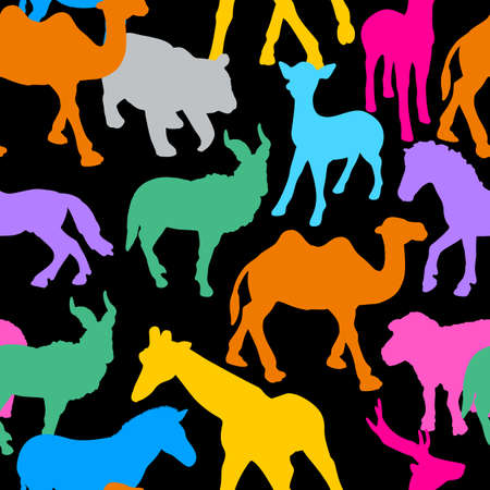 Silhouette of colorful wild animals.Seamless pattern, Vector illustration isolated on black background. Vettoriali