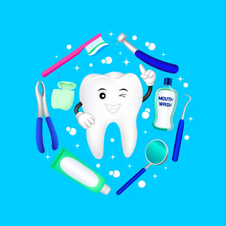 Dental instruments with cartoon tooth in circle shape. Dental care concept.  Illustration isolated on blue background. Great for greeting card, poster and banner 矢量图像