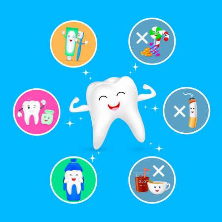Caractère de dent de dessin animé sain avec des icônes définies. Concept de soins dentaires. Bon et mauvais pour vos dents. Illustration isolée sur fond bleu. Vecteurs