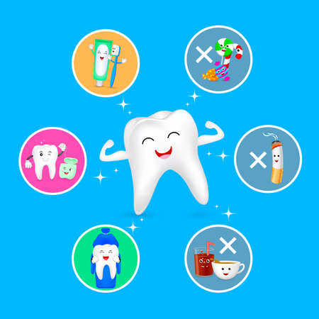 Healthy cartoon tooth character with set icons. Dental care concept. Good and bad for your teeth. Illustration isolated on blue background.