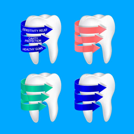 Tooth with three spiral arrow. Tooth cleanliness, design element. Dental care concept, illustration isolated on blue background.