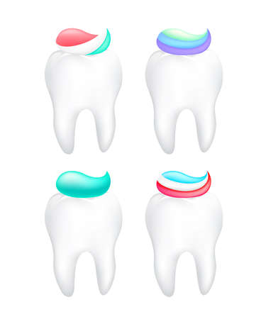 Collection of toothpaste on tooth. Icon design, dental care concept. Illustration isolated on white background.