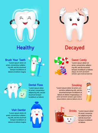 Healthy Tooth with Decayed tooth info-graphics. Comparison between how to get good dental health and decayed teeth. Dental care concept, Illustration.