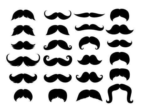 Black Hipster Mustache Icon Set. Vector Illustration isolated on white background.