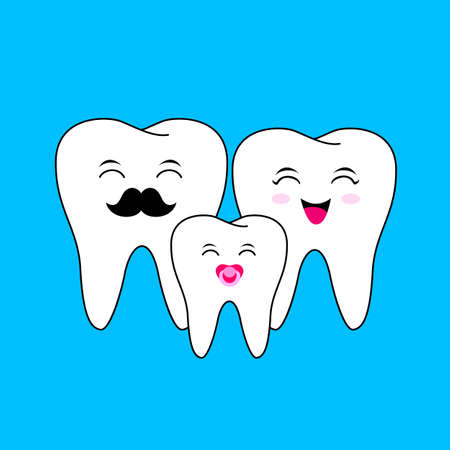 Cute cartoon tooth family, Dad, mom and child. Dentle care concept, illustration isolated on blue background.
