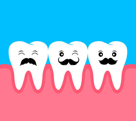 Cute cartoon tooth with black mustache. Flat style.  I love dad concept. Happy Fathers Day. Illustration isolated on blue background.