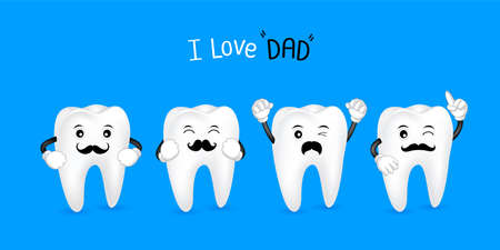 Cute cartoon tooth with black mustache. I love dad concept. Happy Fathers Day. Illustration isolated on blue background. Illustration