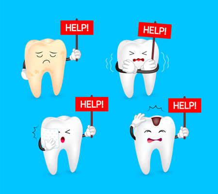 Unhealthy Tooth holding help sign. Human body part requires care or medical treatment due to disease or impact of adverse on health. Dental care concept. Illustration isolated on blue background. Illustration