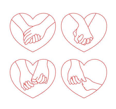 Holding hands on heart shape. icon design set in outline style. concept of supporting, you and me together. Vector illustration. Illustration