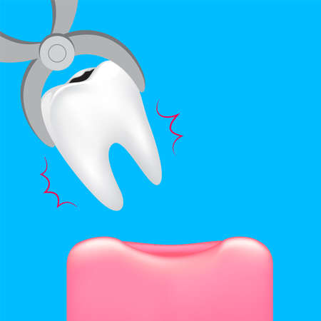 Decay tooth removal. Dental care concept. Illustration isolated on blue background.