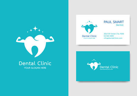 Dental clinic, business card design  template. Pattern vector editable.