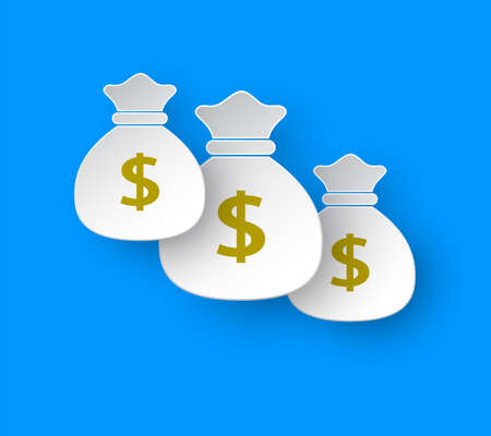 Money bag  icon design in paper style. Dollar USD currency symbol. Illustration isolated on blue background.