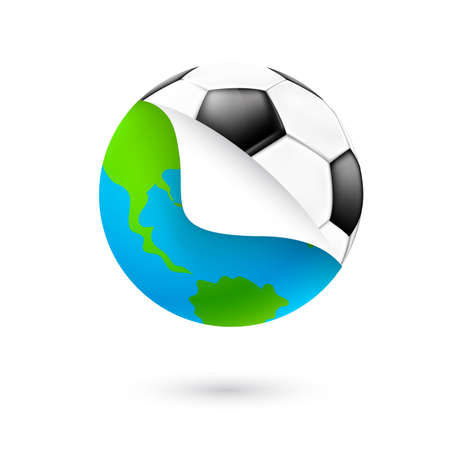 change globe to football. Icon design. Our planet changes in soccer ball. Illustration isolated on white background. Ilustração