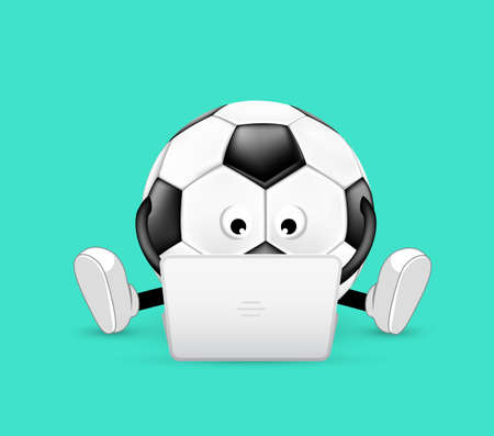 Cute soccer ball character sitting with laptop computer. illustration design icon. Isolated on green background.