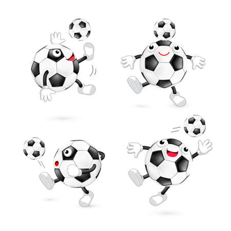 Set of cute cartoon soccer ball. Mascot character, sport concept. Illustation isolated on white background. Illustration