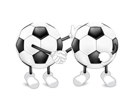 Cute cartoon soccer ball shaking hands as a symbol of unity. Contract, cooperation and teamwork concept. Illustration isolated on white background. Sport mascot character.