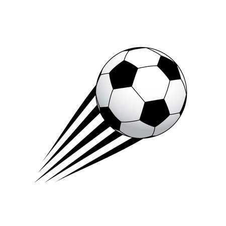Moving soccer ball, black and white. Sport icon design.  Illustration isolated on white background.