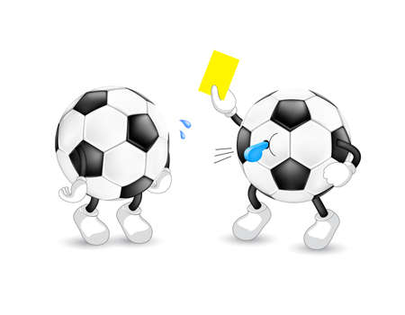 Cartoon soccer referee giving yellow card. Sport character design. Illustration isolated on white background.