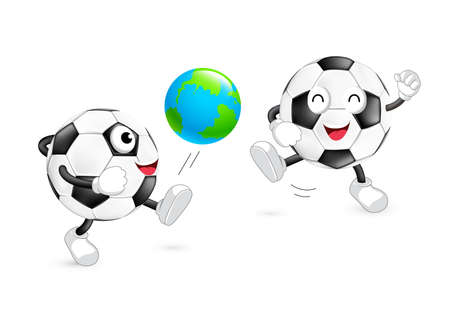 Cute cartoon soccer ball kick a globe ball. Mascot character, World cup concept. Illustration isolated on white background.
