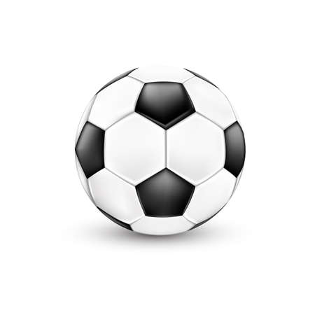 Soccer ball, black and white. Sport icon design. Illustration isolated on white background.