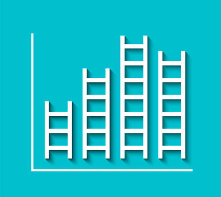 Bar graph in ladder shape. Analysis information concept, success and achieving your goal. Illustration isolated on blue background. Illustration