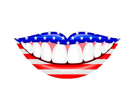 Flags of the USA in human lips. Happy USA Independence Day, 4th of July. Illustration isolated on white background.