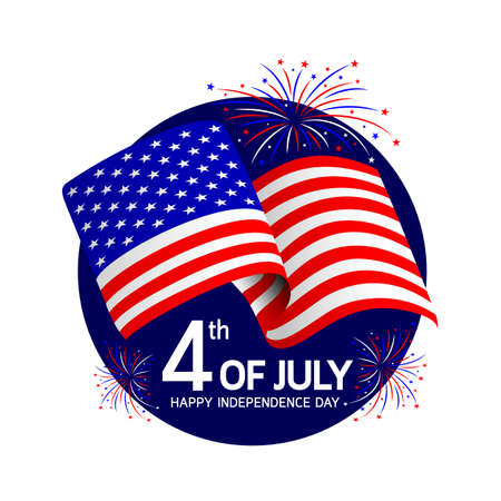 Independence day with Usa flags and fireworks celebration. Happy 4th of July. Illustration isolated on white background.