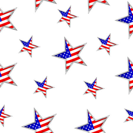 Usa flag in star shape seamless pattern. Happy 4th of july, independence day of  America.  Illustration isolated on white  background.
