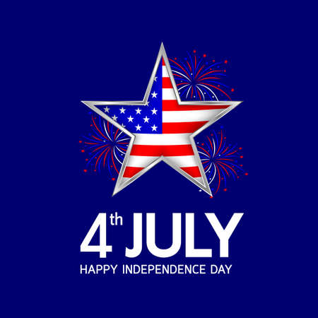 Happy 4th of july, independence day of the usa. Flag in star shape with fireworks celebration. Illustration isolated on blue background. Illustration