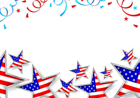 Usa flag in star shape with paper shoot  background.. Happy 4th of july, independence day of  America.  Illustration isolated on white. Illustration
