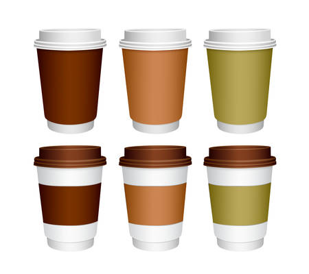 Set of paper Coffee Cups. Mockup template for your design. Illustration isolated on white background.