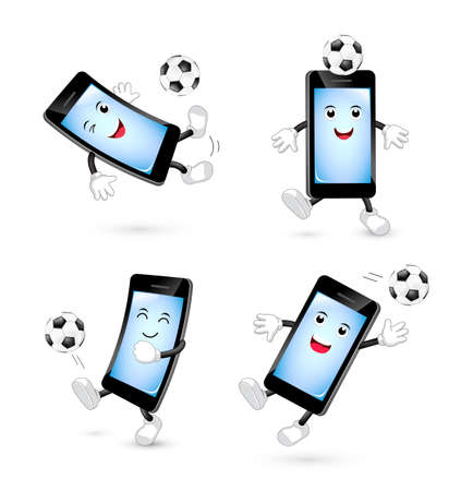 Set of cute cartoon smartphone playing football. Mascot character, sport concept. Illustration isolated on white background. Illustration
