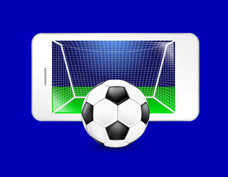 Soccer ball and goal on a smartphone screen. Watching soccer and betting online concept. Illustration isolated on white background.