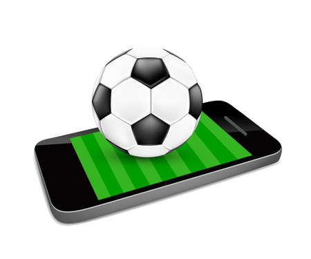 Soccer ball and soccer field on a smartphone screen. Watching soccer and betting online concept. Illustration isolated on white background. Illustration
