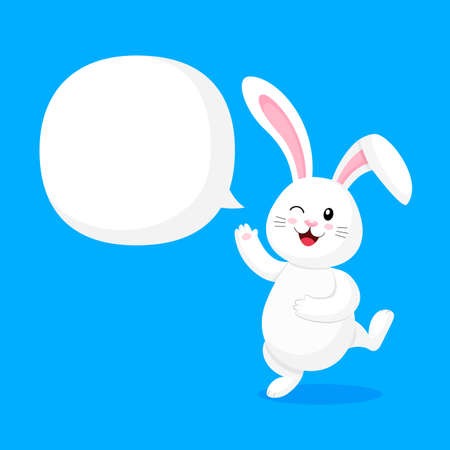 Cute cartoon white rabbit character with speech bubble. Illustration isolated on blue background. Illustration