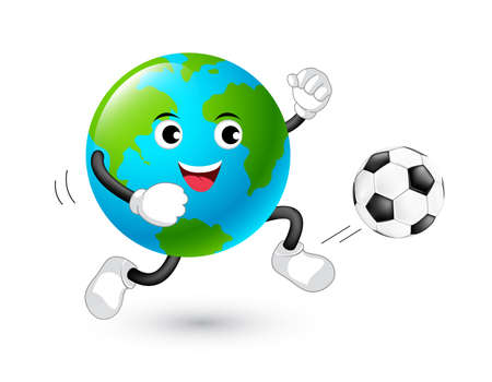 Cute cartoon globe playing football. Mascot character, sport concept. Illustration isolated on white background.