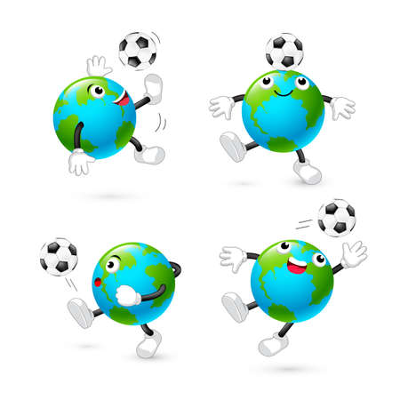 Set of cute cartoon globe playing football. Mascot character, sport concept. Illustration isolated on white background.