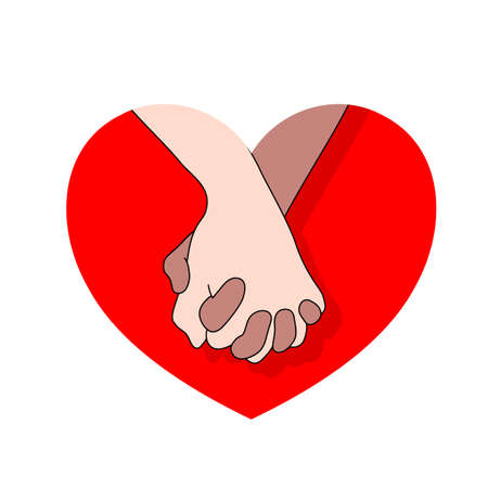 Holding hands on red heart. icon design in flat style. concept of supporting, you and me together. Vector illustration.